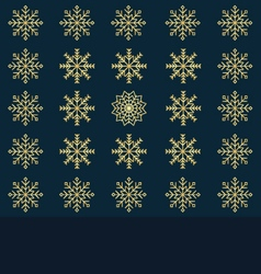 Festive background of gold snowflakes pattern vector