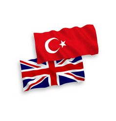 Flags turkey and great britain on a white vector