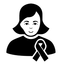 Girl With Sympathy Ribbon Flat Icon vector