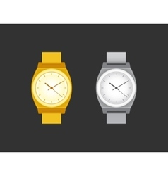 Golden and silver wrist Watch on black field vector image