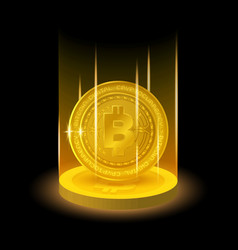 golden bitcoin in shining light effect vector image