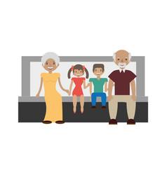 Grandparents grandsons family vector