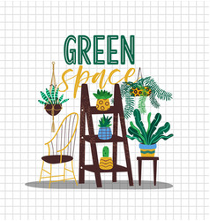green space house plant concept interior design vector image