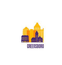 greensboro city emblem colorful buildings vector image