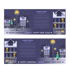 greeting cards set for christmas and new year vector image