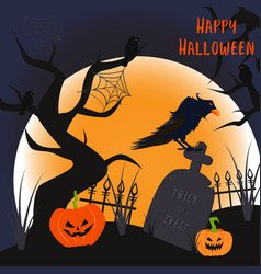 halloween poster with a monument and a raven vector image