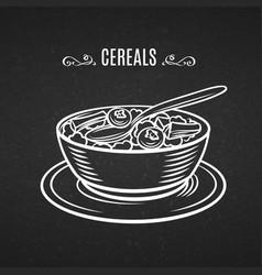 Hand drawn line icon breakfast cereals vector