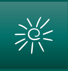 hand drawn sun icon on green background vector image
