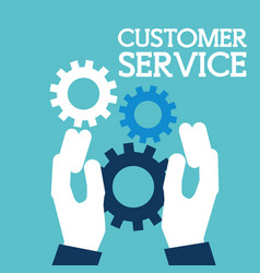 hands holding gears support customer service vector image