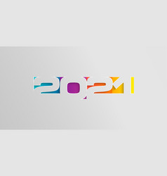 Happy 2021 new year card in paper style vector
