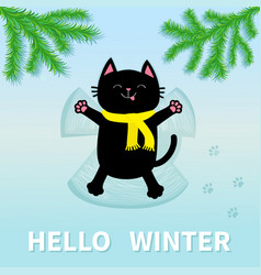 Hello winter black cat laying on back making snow vector
