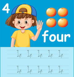 how to write number four worksheet vector image