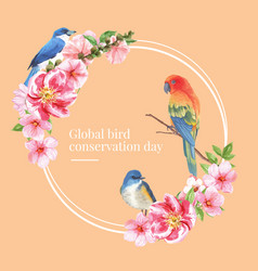 Insect and bird wreath design with bluetail vector