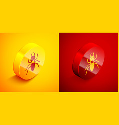 Isometric ant icon isolated on orange and red vector
