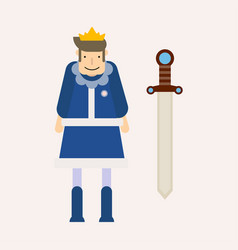 king wearing crown and sword decorated by gemstone vector image
