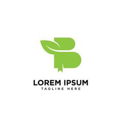 Letter b book leaf logo design template vector