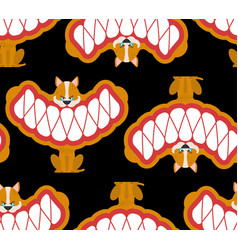 Little angry dog pattern seamless small pet teeth vector