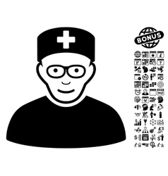Medical Specialist Flat Icon With Bonus vector