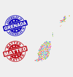 Module grenada map and distress assembled and vector