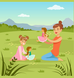 mother and her daughter playing dolls on natur vector image
