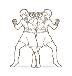 Muay thai thai boxing standing action outline vector