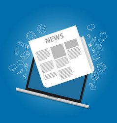 news icon newspaper on laptop screen online icon vector image
