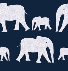 organic texture elephants on blue background vector image