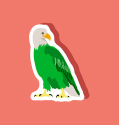 paper sticker on stylish background eagle vector image