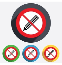 Pencil sign icon Do not Edit content button vector image