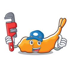 Plumber tempura mascot cartoon style vector
