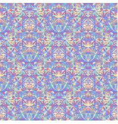 Polygonal seamless floral mosaic pattern vector