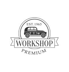 Retro Car Repair Workshop Black And White Label vector