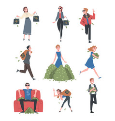 rich business people set wealthy person vector image