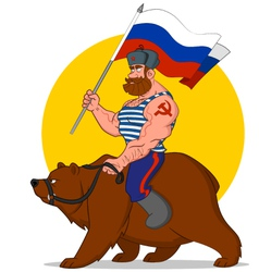 Russian riding a bear vector image