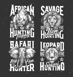 safari hunting tshirt prints sketch set vector image