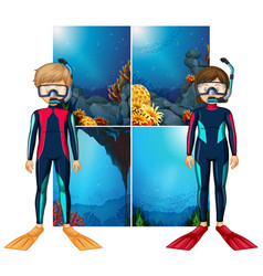 Scuba divers and scene underwater vector