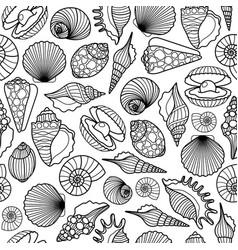 Sea shells black seamless pattern vector