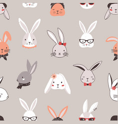 seamless pattern with rabbit faces on grey vector image