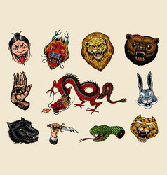 set fashion patches tattoo artwork bear vector image