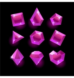 Set of cartoon purplepink different shapes vector image