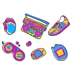 Set of fashion patches sneakers joystick vector