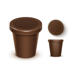 set of plastic tub for chocolate dessert yogurt vector image