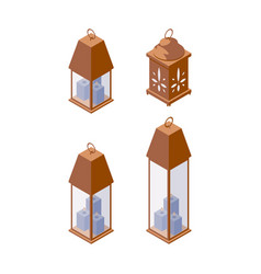 set with various closed candlestick with blue vector image