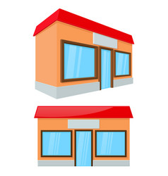 Shop building front and side view vector