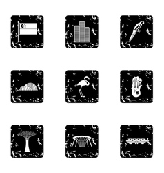 Singapore icons set grunge style vector