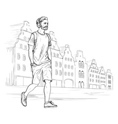 sketch of walking hipster man in headphones vector image