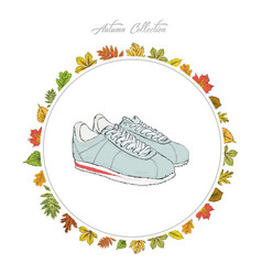 sneakers hand draw shoes autumn collection frame vector image