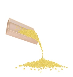 Split Peas Dropped from A Wooden Container vector