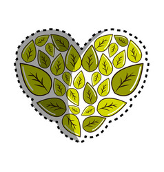 Sticker green leaves with form of heart vector