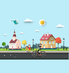 sunny day in village or city park with houses man vector image